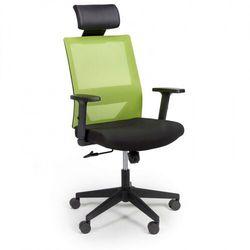 Krzesło biurowe z oparciem z siatki wolf, regulowane podłokietniki, plastikowy krzyżak, zielone marki B2b partner