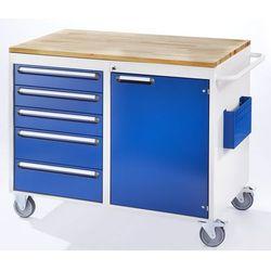 Stół warsztatowy, ruchomy,5 szuflad, 1 drzwi, blat roboczy z drewna