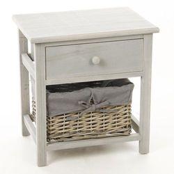 Drewniana szafka nocna z 1 szufladą i koszem wiklinowym - schowek, pomocnik
