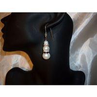 K-00052 Kolczyki z perełek szklanych białych i krązków z cyrkoniami, 18-03-11