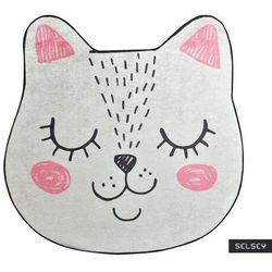 dywan do pokoju dziecięcego dinkley sofia w kształcie kotka średnica 140 cm marki Selsey