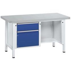 Anke werkbänke - anton kessel Stół warsztatowy, stabilny, 2 szuflady, ½ blatu, okładzina z blachy stalowe