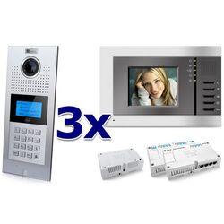 Zestaw wideodomofonowy 3 rodzinny panel c5 c9e21l-c, 3x monitor c5 v3, akcesoria marki Genway