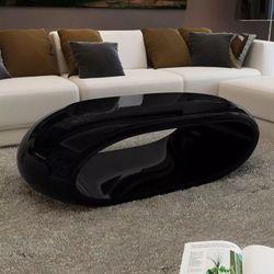 Stolik kawowy z włókna szklanego, czarny, o wysokim połysku