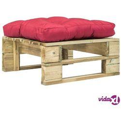 ogrodowy stołek z palet z czerwoną poduszką, drewno fsc marki Vidaxl