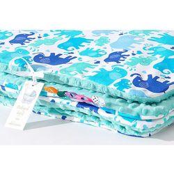 MAMO-TATO Kocyk Minky dwustronny Słonie niebiesko-zielone / miętowy