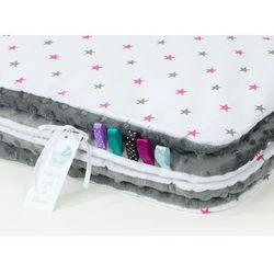 komplet kocyk minky do wózka + poduszka gwiazdki szare i różowe / szary marki Mamo-tato