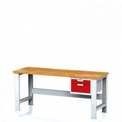 B2b partner Stół warsztatowy mechanic, 2000x700x700-1055 mm, nogi regulowane, 1x szufladowy kontener, 2 szuflady, czerwone
