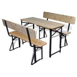 vidaXL Składany stół piwny i 2 ławki drewniane z oparciem