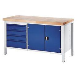 Stół warsztatowy, stabilny,4 szuflady w rozmiarze l, 1 szafka na narzędzia marki Rau