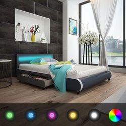 łóżko z oświetleniem led w zagłówku + materac piankowy memory marki Vidaxl