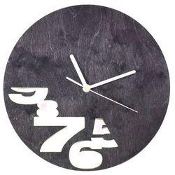 Drewniany zegar na ścianę abstrakcja z białymi wskazówkami marki Congee.pl