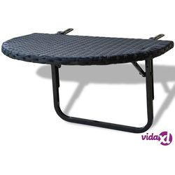 Vidaxl stolik balkonowy, 60x60x32 cm, czarny, rattan pe (8718475960515)
