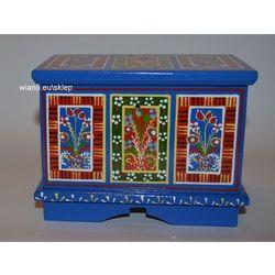 Twórczyni ludowa Skrzynia wianna zawiślecka ręcznie malowana (15x10x11,5)
