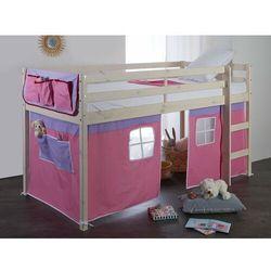 Półwysokie łóżko LILIO - 90x190 cm - Lita sosna - Zasłony i kieszonki w kolorze różowym i lila