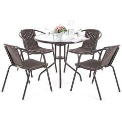 Home&garden Meble ogrodowe metalowe summer basic round 80 cm black / brown 4+1 (5902425326473)