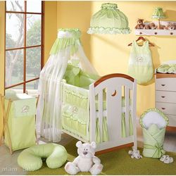 MAMO-TATO pościel 5-el Miś z serduszkiem w zieleni do łóżeczka 60x120cm - Szyfon
