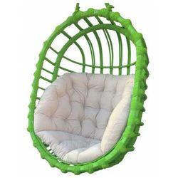 Zielony kosz wiszący z wikliny z poduszką - Petro 3X, Kosz-wiszący-wiklinowy-owalny