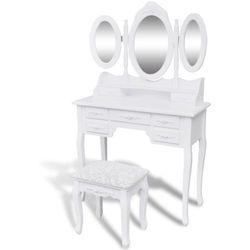 vidaXL Toaletka z taboretem i 3 lustrami