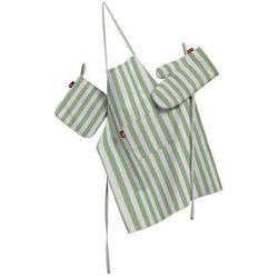 Dekoria Komplet kuchenny fartuch,rękawica i łapacz, zielono białe pasy (1,5cm), kpl, Quadro - sprawdź w wybranym sklepie