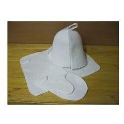 Produkcja własna Zestaw sauniarza biały - czapka rękawica ręczniczek