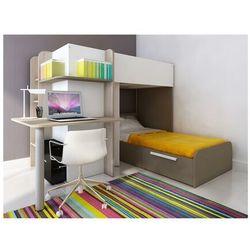 Łóżko piętrowe samuel – 2 × 90 × 190 cm – wbudowane biurko – kolor sosna biała i czekoladowy marki Vente-unique.pl