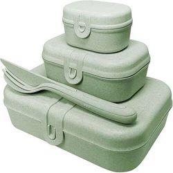 Koziol Lunchboxy pascal ready organic zielone ze sztućcami 4 el.