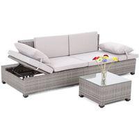 Home&garden Meble ogrodowe  sofa ogrodowa z technorattanu milano 2 w 1 szary / jasnoszary + darmowy transport!
