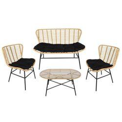 Zestaw ogrodowy nicoya z technorattanu: sofa 2-osobowa, 2 fotele i stolik kawowy marki Vente-unique