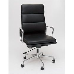 D2.design Fotel biurowy ch inspirowany ea219 skóra, chrom - czarny (5902385716796)