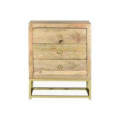 Stolik nocny w stylu vintage alix - 3 szuflady - drewno mangowe i złocony metal marki Vente-unique