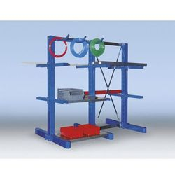 Regałowy stojak wspornikowy, konstrukcja średnio ciężka,dwustronny, wys. stojaka 3300 mm