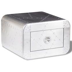 vidaXL Aluminiowy stolik do kawy lotniczy Aviator Vintage z 1 szufladą (8718475943990)