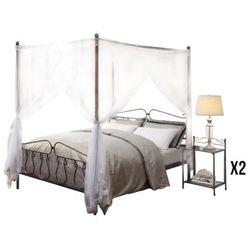Zestaw do sypialni marquise - łóżko z baldachimem 140 × 200 cm i 2 stoliki nocne - metal o wyglądzie kutego żelaza. marki Vente-unique