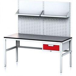 Stół warsztatowy MECHANIC II z panelem perforowanym i półkami, 1600 x 700 x 745-985 mm, 1 kontener szufladowy, szary/czerwony