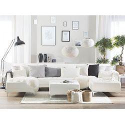 Sofa rozkładana podkowa skóra ekologiczna biała z otomaną ABERDEEN, kolor biały
