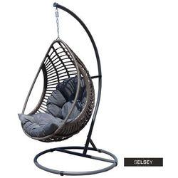 fotel wiszący ogrodowy noler kokon bujany szary marki Selsey