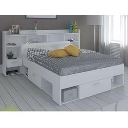 Łóżko + wezgłowie kylian z półkami - modułowe 140 × 190 lub 140 × 200 cm - biały marki Vente-unique