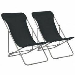 Składane krzesła plażowe Dino - czarne, vidaxl_44359
