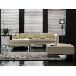 Sofa narożna P – skórzana – beżowa - sofa z pufą - kanapa OSLO - produkt z kategorii- Narożniki
