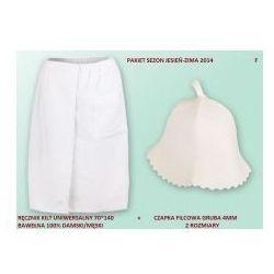 Produkcja własna Kilt ręcznik 70*140cm 100% bawełna + czapka biała do sauny gruba f