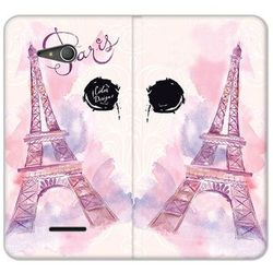 Flex book fantastic - sony xperia e4g - etui na telefon flex book fantastic - różowa wieża eiffla wyproduko