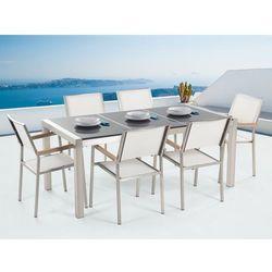 Beliani Meble ogrodowe - stół granitowy 180 cm szary polerowany z 6 białymi krzesłami - grosseto