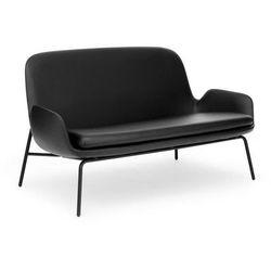 Sofa Era na stalowych czarnych nogach skóra Tango Leather, kolor czarny