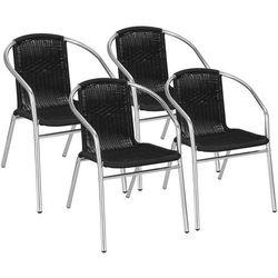Krzesło ogrodowe 4 szt. metalowe, plecione krzesło na balkon czarne chrom