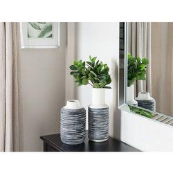 Dekoracyjny wazon na kwiaty biały/szary PELLA