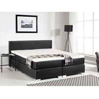 Łóżko kontynentalne 180x200 cm - skóra ekologiczna - PRESIDENT czarne - sprawdź w wybranym sklepie