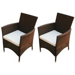 Vidaxl krzesła ogrodowe, 2 szt., rattan pe, brązowy