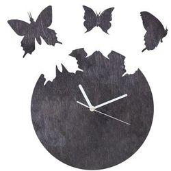 Drewniany zegar na ścianę Motyle z białymi wskazówkami (5907509933226)