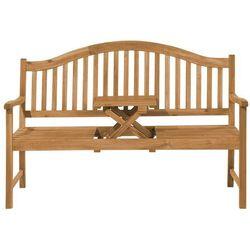 Beliani Ławka ogrodowa ciemne drewno z rozkładanym stolikiem - hilo